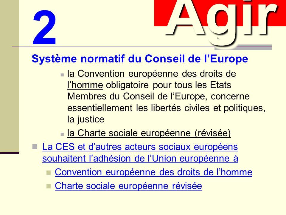 2 Système normatif du Conseil de lEurope la Convention européenne des droits de lhomme obligatoire pour tous les Etats Membres du Conseil de lEurope, concerne essentiellement les libertés civiles et politiques, la justice la Charte sociale européenne (révisée) La CES et dautres acteurs sociaux européens souhaitent ladhésion de lUnion européenne à Convention européenne des droits de lhomme Charte sociale européenne révisée AgirAgir