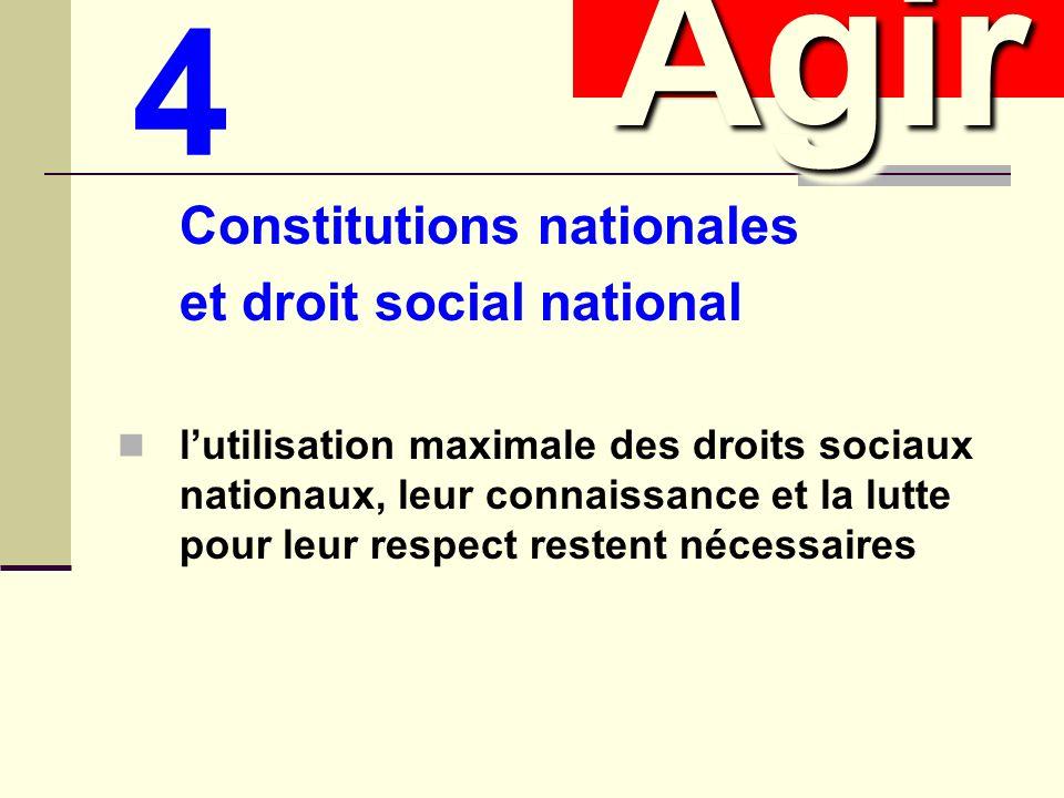 Constitutions nationales et droit social national lutilisation maximale des droits sociaux nationaux, leur connaissance et la lutte pour leur respect restent nécessaires AgirAgir 4