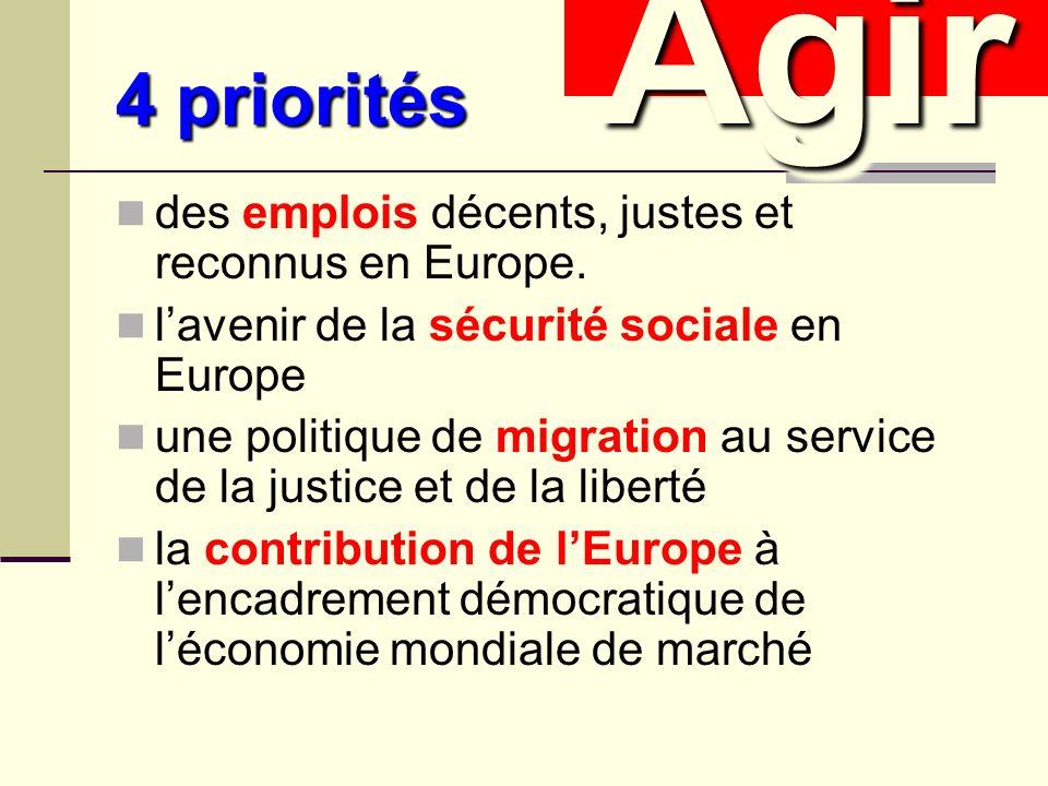 4 priorités des emplois décents, justes et reconnus en Europe.