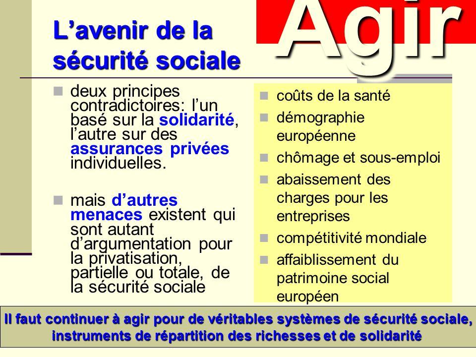 Lavenir de la sécurité sociale deux principes contradictoires: lun basé sur la solidarité, lautre sur des assurances privées individuelles.