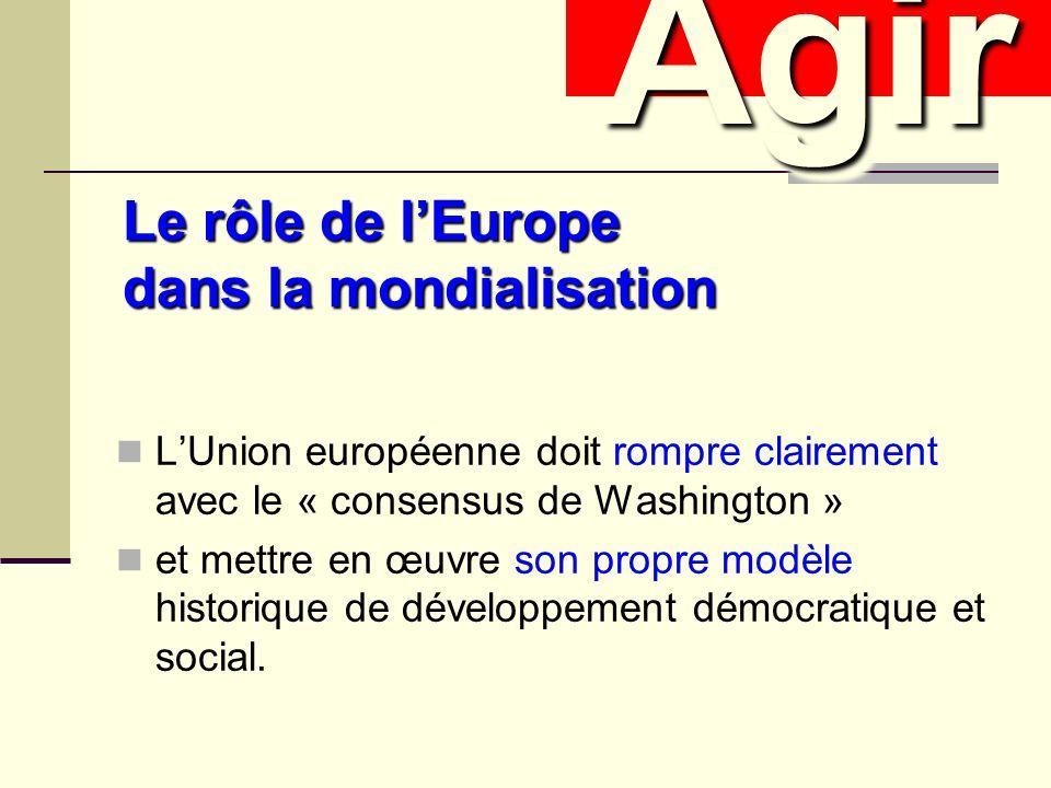 Le rôle de lEurope dans la mondialisation LUnion européenne doit rompre clairement avec le « consensus de Washington » et mettre en œuvre son propre modèle historique de développement démocratique et social.