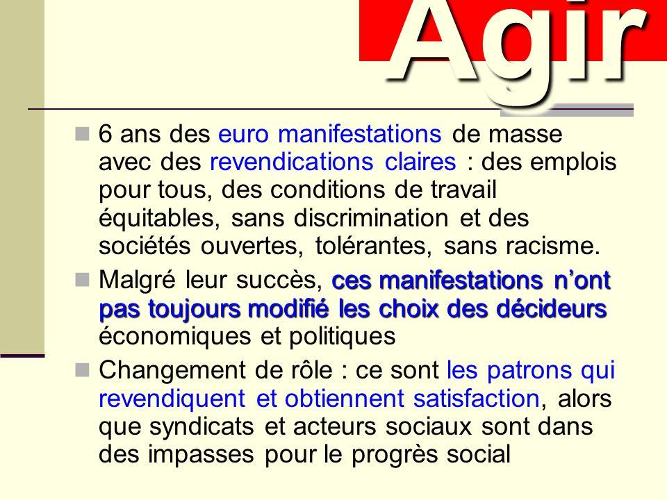 6 ans des euro manifestations de masse avec des revendications claires : des emplois pour tous, des conditions de travail équitables, sans discrimination et des sociétés ouvertes, tolérantes, sans racisme.