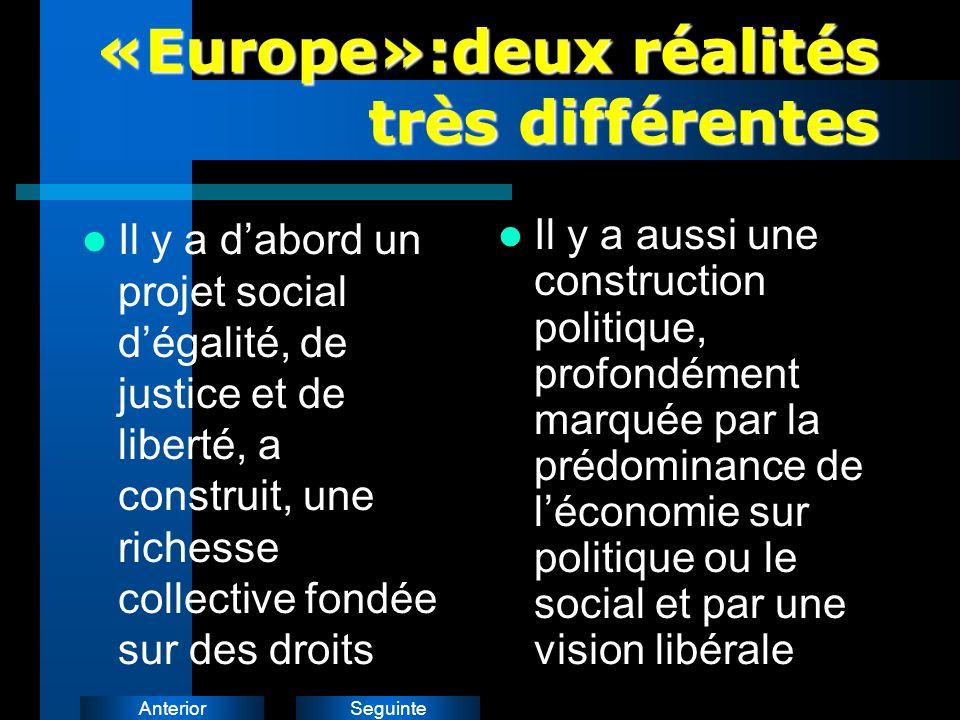 SeguinteAnterior «Europe»:deux réalités très différentes Il y a dabord un projet social dégalité, de justice et de liberté, a construit, une richesse collective fondée sur des droits Il y a aussi une construction politique, profondément marquée par la prédominance de léconomie sur politique ou le social et par une vision libérale