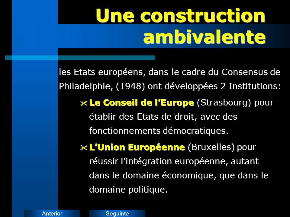 SeguinteAnterior Une construction ambivalente les Etats européens, dans le cadre du Consensus de Philadelphie, (1948) ont développées 2 Institutions: LeConseil de lEurope Le Conseil de lEurope (Strasbourg) pour établir des Etats de droit, avec des fonctionnements démocratiques.