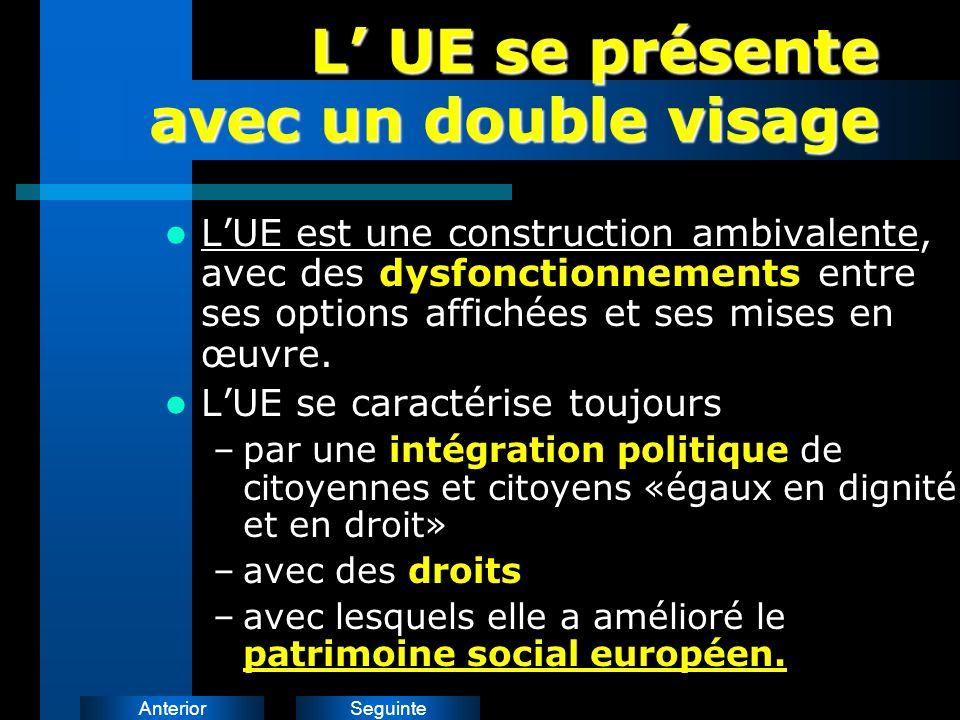 SeguinteAnterior L UE se présente avec un double visage LUE est une construction ambivalente, avec des dysfonctionnements entre ses options affichées et ses mises en œuvre.