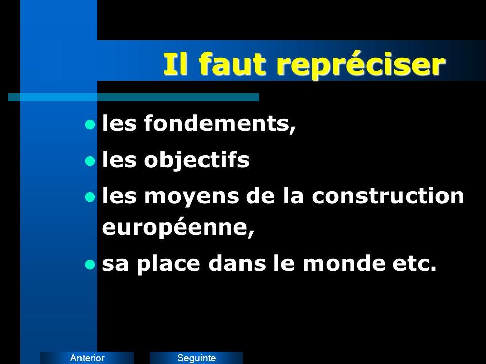 SeguinteAnterior Il faut repréciser les fondements, les objectifs les moyens de la construction européenne, sa place dans le monde etc.