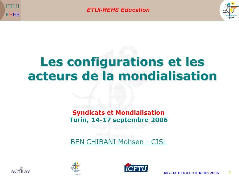 ETUI-REHS Education 652.33 PED@ETUI REHS 2006 1 Syndicats et Mondialisation Turin, 14-17 septembre 2006 BEN CHIBANI Mohsen - CISL Les configurations e
