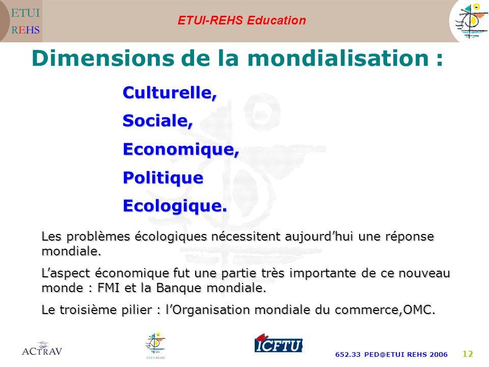 ETUI-REHS Education 652.33 PED@ETUI REHS 2006 12 Dimensions de la mondialisation : Culturelle,Sociale,Economique,PolitiqueEcologique. Les problèmes éc