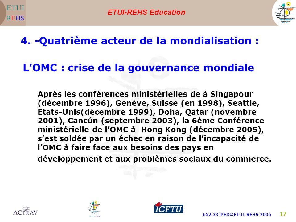 ETUI-REHS Education 652.33 PED@ETUI REHS 2006 17 LOMC : crise de la gouvernance mondiale Après les conférences ministérielles de à Singapour (décembre
