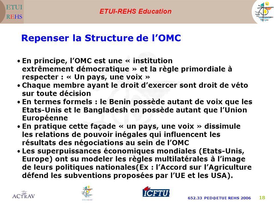 ETUI-REHS Education 652.33 PED@ETUI REHS 2006 18 Repenser la Structure de lOMC En principe, lOMC est une « institution extrêmement démocratique » et l