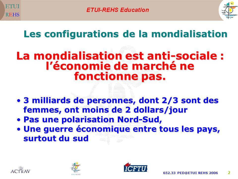 ETUI-REHS Education 652.33 PED@ETUI REHS 2006 13 Les acteurs de la mondialisation : Linvestissement étranger direct avec un rôle important aux firmes multinationales Linternationalisation des marchés financiers Les instituions financières internationales, FMI, Banque mondiale et OMC Les groupements de libre échange