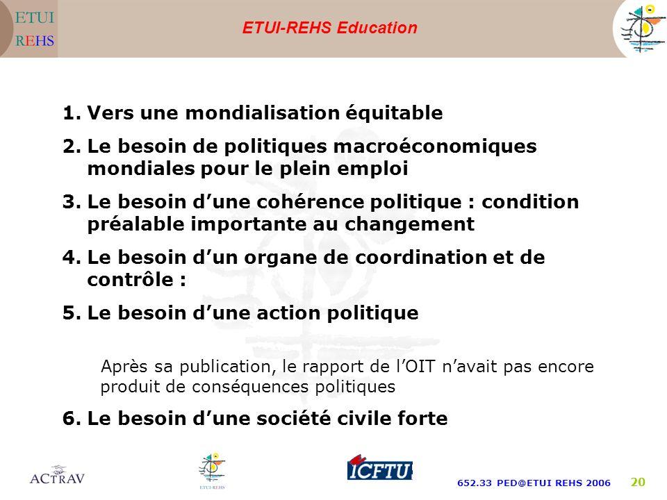ETUI-REHS Education 652.33 PED@ETUI REHS 2006 20 1.Vers une mondialisation équitable 2.Le besoin de politiques macroéconomiques mondiales pour le plei