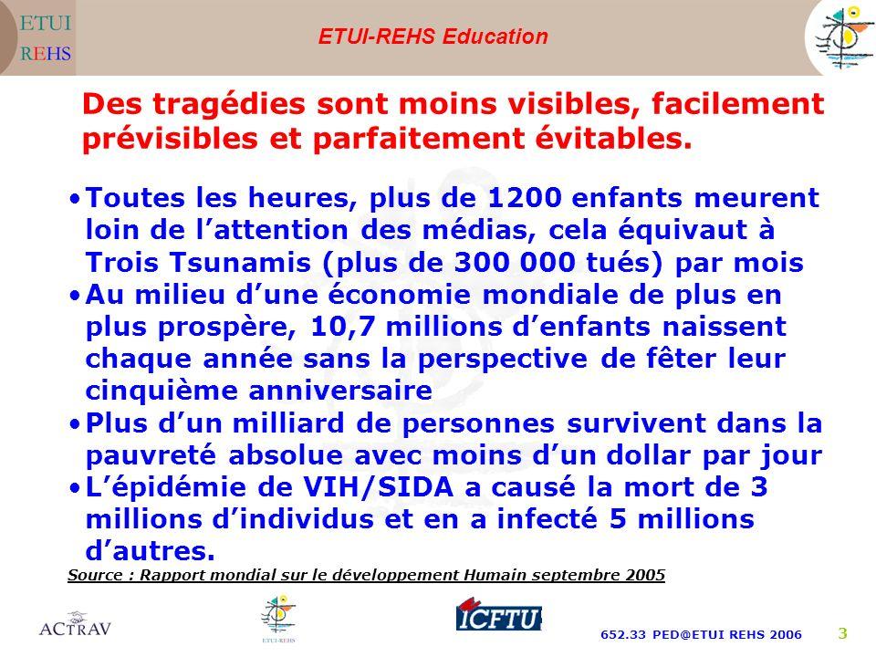 ETUI-REHS Education 652.33 PED@ETUI REHS 2006 3 Des tragédies sont moins visibles, facilement prévisibles et parfaitement évitables. Toutes les heures