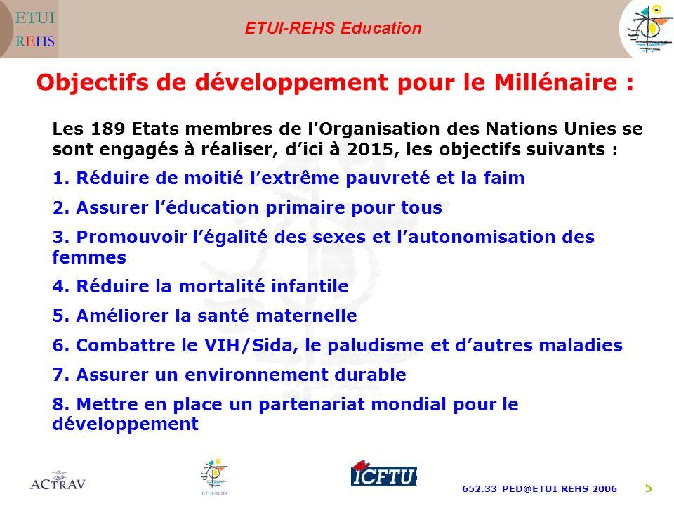 ETUI-REHS Education 652.33 PED@ETUI REHS 2006 5 Les 189 Etats membres de lOrganisation des Nations Unies se sont engagés à réaliser, dici à 2015, les