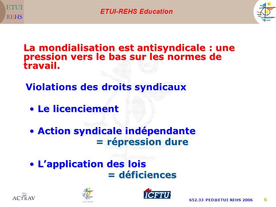 ETUI-REHS Education 652.33 PED@ETUI REHS 2006 6 La mondialisation est antisyndicale : une pression vers le bas sur les normes de travail. Violations d