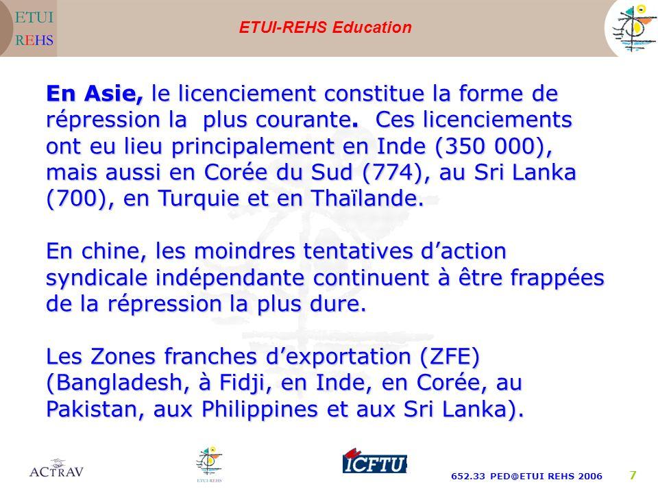 ETUI-REHS Education 652.33 PED@ETUI REHS 2006 7 En Asie, le licenciement constitue la forme de répression la plus courante. Ces licenciements ont eu l