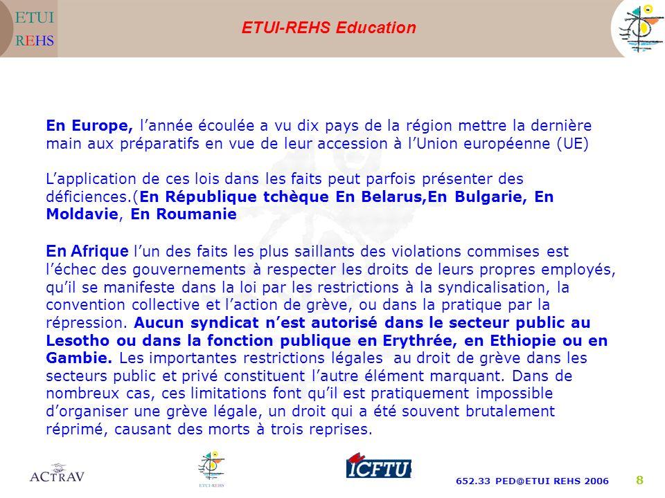 ETUI-REHS Education 652.33 PED@ETUI REHS 2006 9 Dans les pays arabes, les violations des droits et libertés syndicales continuent à persister dans les secteurs privés et publics.