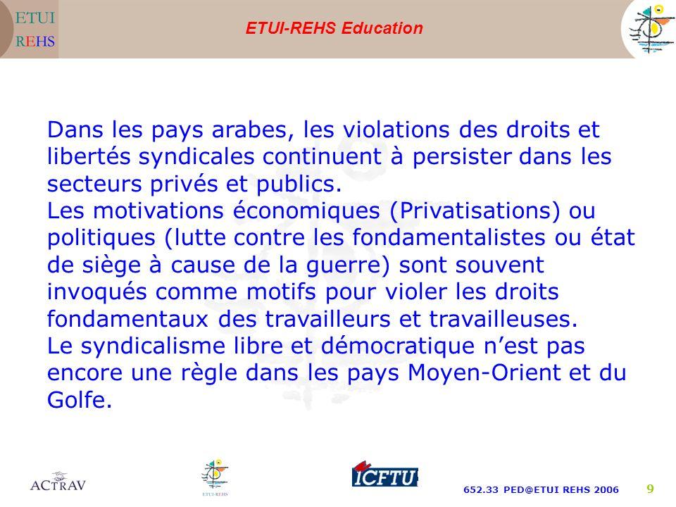 ETUI-REHS Education 652.33 PED@ETUI REHS 2006 9 Dans les pays arabes, les violations des droits et libertés syndicales continuent à persister dans les