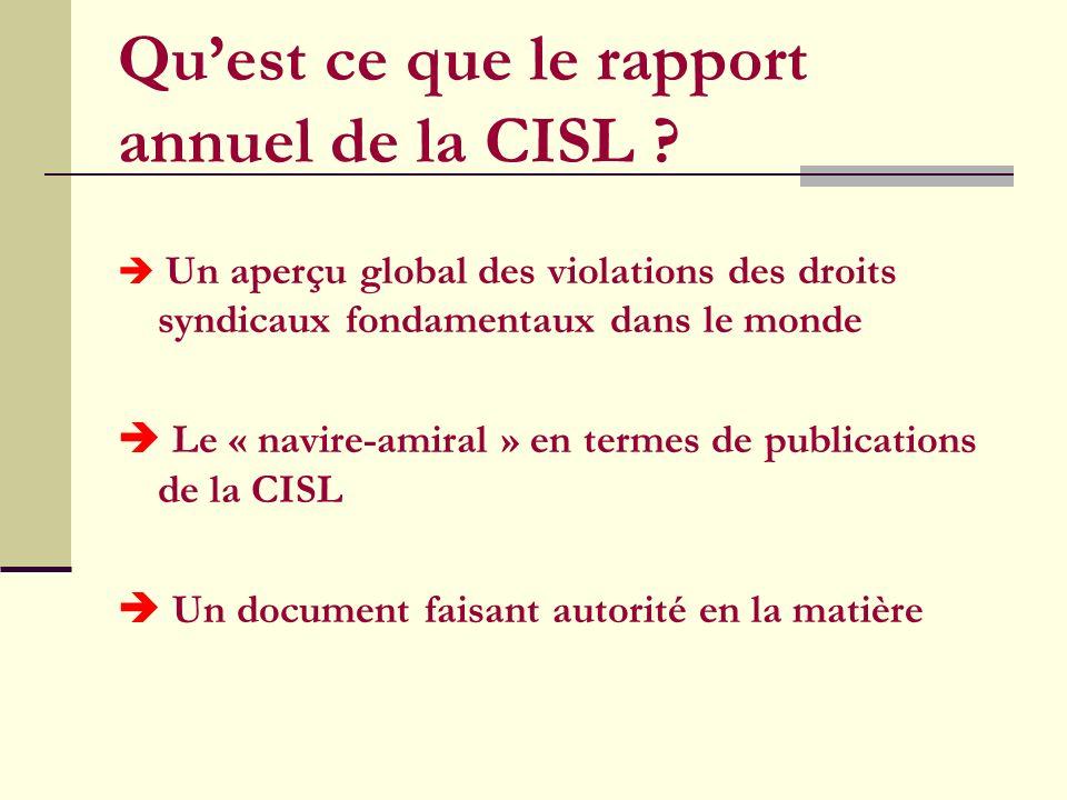 Quest ce que le rapport annuel de la CISL .