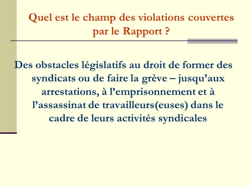 Quel est le champ des violations couvertes par le Rapport .