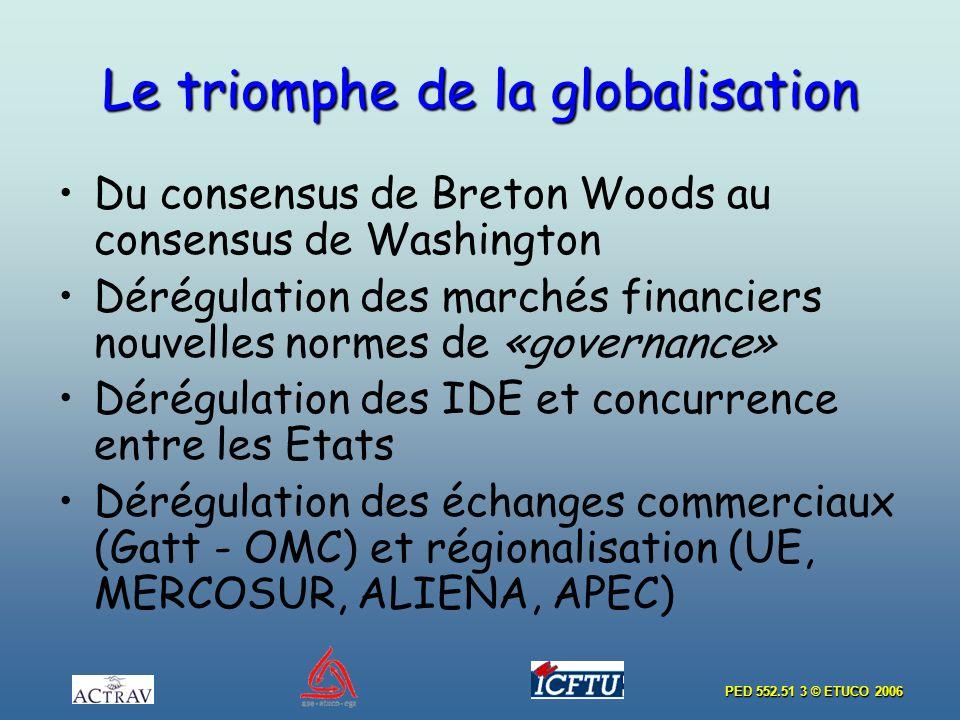 PED 552.51 3 © ETUCO 2006 Le triomphe de la globalisation Du consensus de Breton Woods au consensus de Washington Dérégulation des marchés financiers nouvelles normes de «governance» Dérégulation des IDE et concurrence entre les Etats Dérégulation des échanges commerciaux (Gatt - OMC) et régionalisation (UΕ, MERCOSUR, ALIENA, APEC)