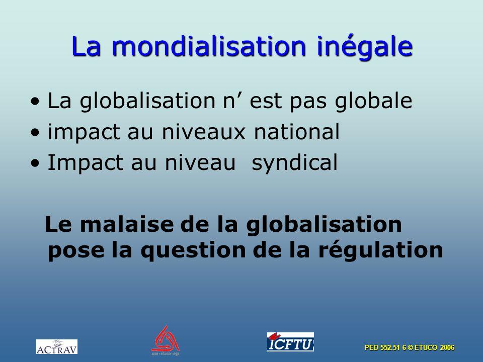 PED 552.51 6 © ETUCO 2006 La mondialisation inégale La globalisation n est pas globale impact au niveaux national Impact au niveau syndical Le malaise de la globalisation pose la question de la régulation