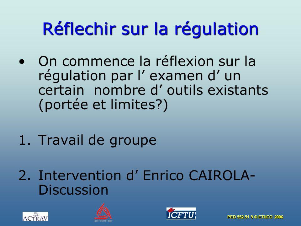 PED 552.51 9 © ETUCO 2006 Réflechir sur la régulation On commence la réflexion sur la régulation par l examen d un certain nombre d outils existants (portée et limites ) 1.Travail de groupe 2.Intervention d Enrico CAIROLA- Discussion