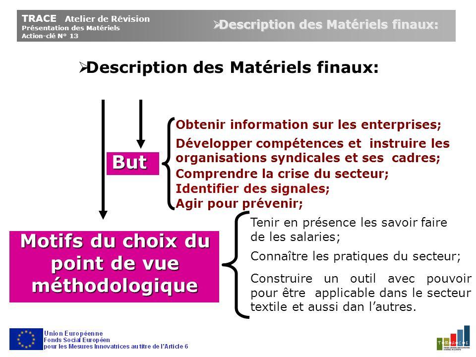 Matrices Indicateurs Variables Concepts TRACE Atelier de Révision Présentation des Matériels Action-clé N° 13 Description des Matériels finaux: Description des Matériels finaux: