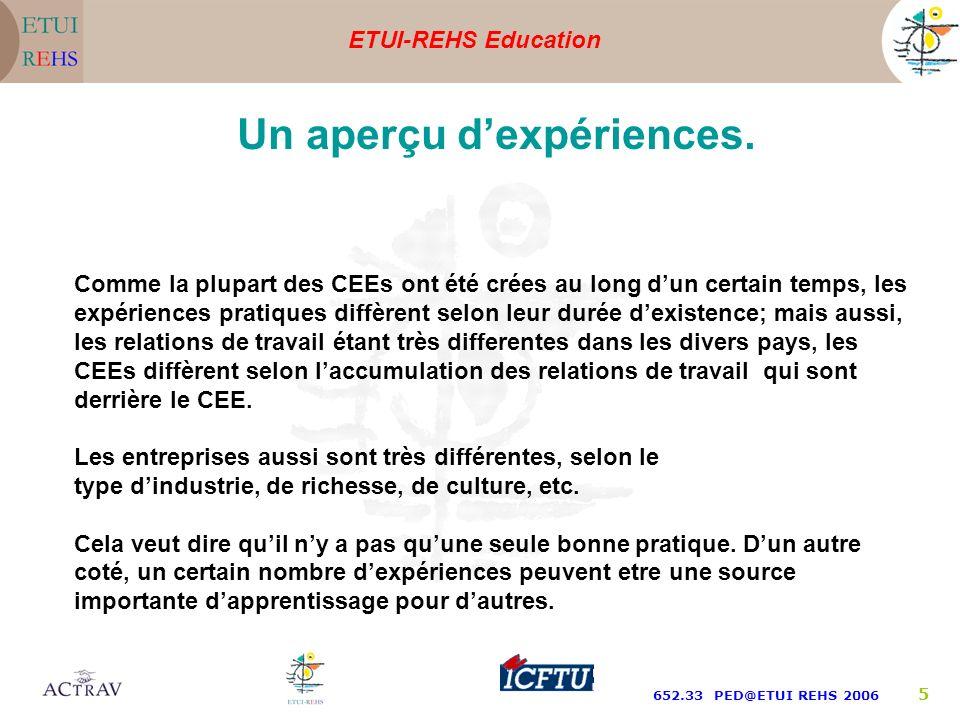 ETUI-REHS Education 652.33 PED@ETUI REHS 2006 5 Un aperçu dexpériences.