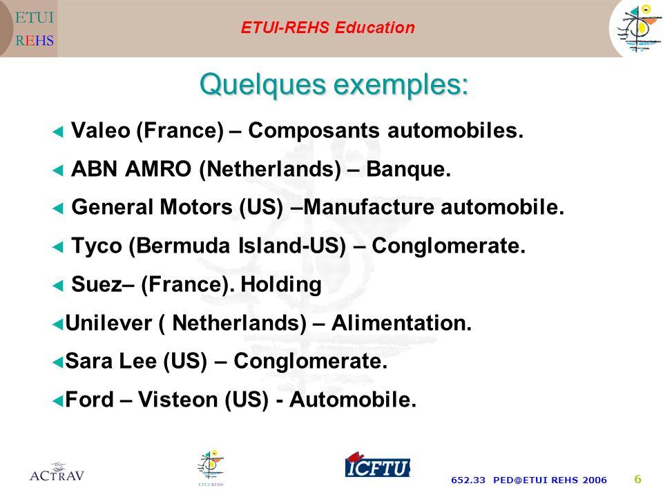 ETUI-REHS Education 652.33 PED@ETUI REHS 2006 6 Valeo (France) – Composants automobiles.