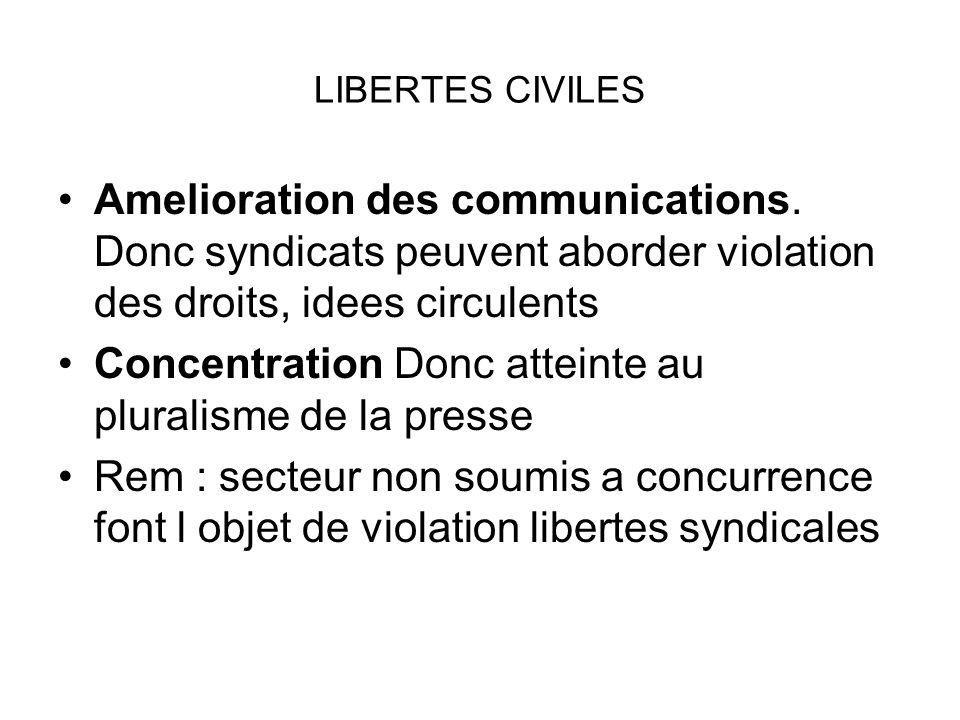 LIBERTES CIVILES Amelioration des communications. Donc syndicats peuvent aborder violation des droits, idees circulents Concentration Donc atteinte au
