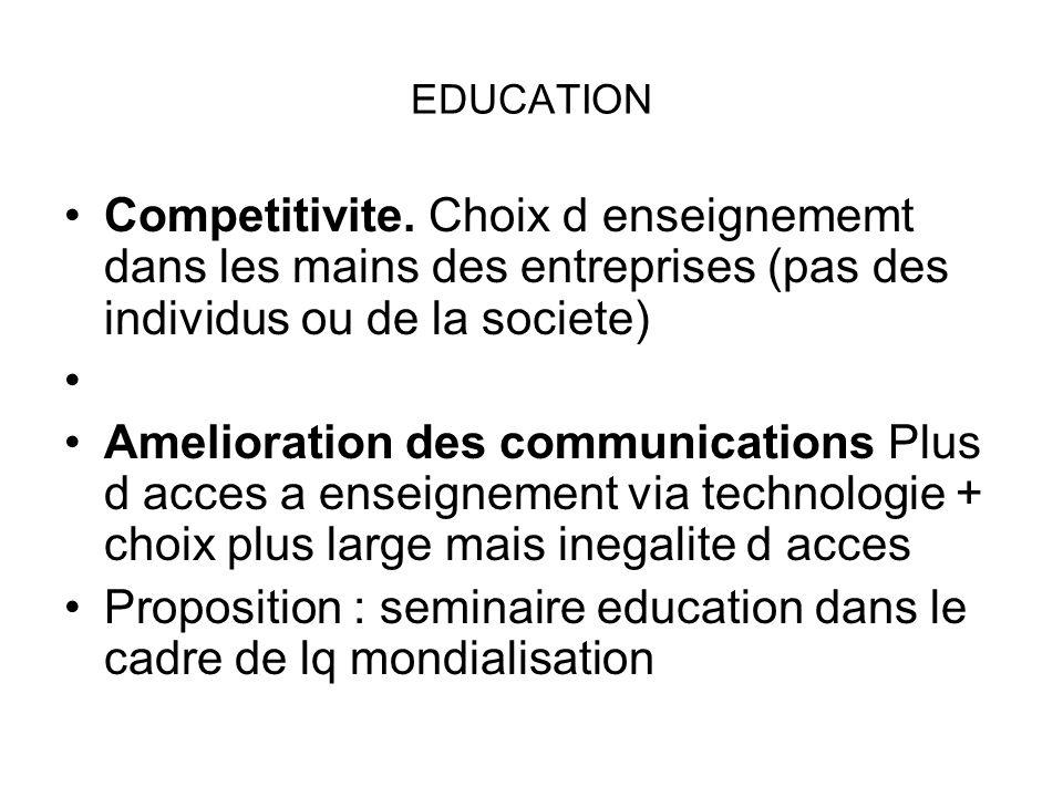 EDUCATION Competitivite. Choix d enseignememt dans les mains des entreprises (pas des individus ou de la societe) Amelioration des communications Plus