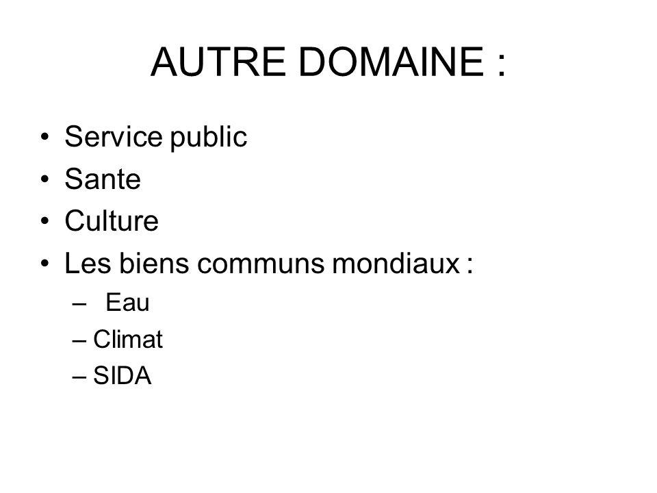 AUTRE DOMAINE : Service public Sante Culture Les biens communs mondiaux : – Eau –Climat –SIDA