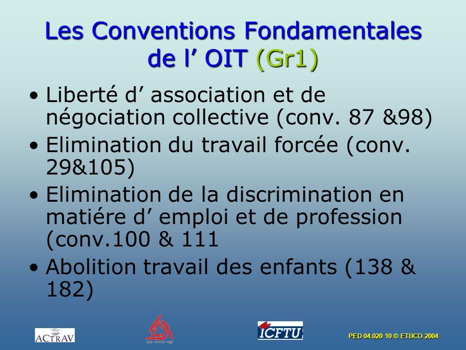 PED 04.020 10 © ETUCO 2004 Les Conventions Fondamentales de l OIT (Gr1) Liberté d association et de négociation collective (conv. 87 &98) Elimination