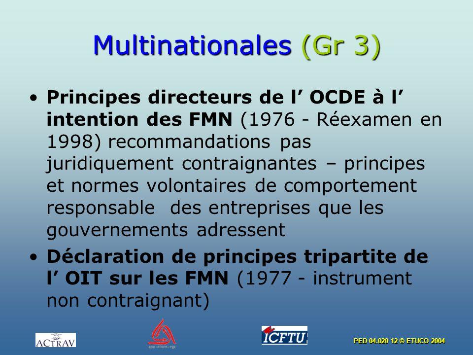 PED 04.020 12 © ETUCO 2004 Multinationales (Gr 3) Principes directeurs de l OCDE à l intention des FMN (1976 - Réexamen en 1998) recommandations pas j