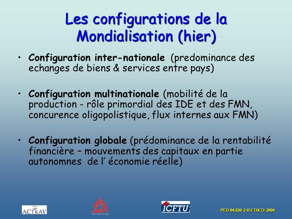 PED 04.020 2 © ETUCO 2004 Les configurations de la Mondialisation (hier) Configuration inter-nationale (predominance des echanges de biens & services