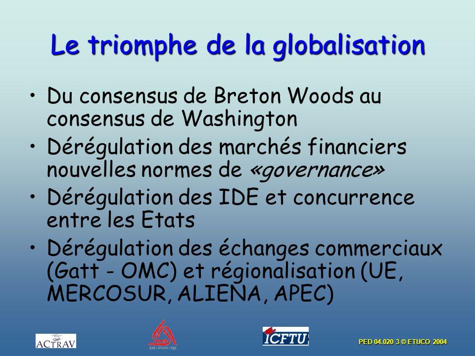 PED 04.020 3 © ETUCO 2004 Le triomphe de la globalisation Du consensus de Breton Woods au consensus de Washington Dérégulation des marchés financiers nouvelles normes de «governance» Dérégulation des IDE et concurrence entre les Etats Dérégulation des échanges commerciaux (Gatt - OMC) et régionalisation (UΕ, MERCOSUR, ALIENA, APEC)