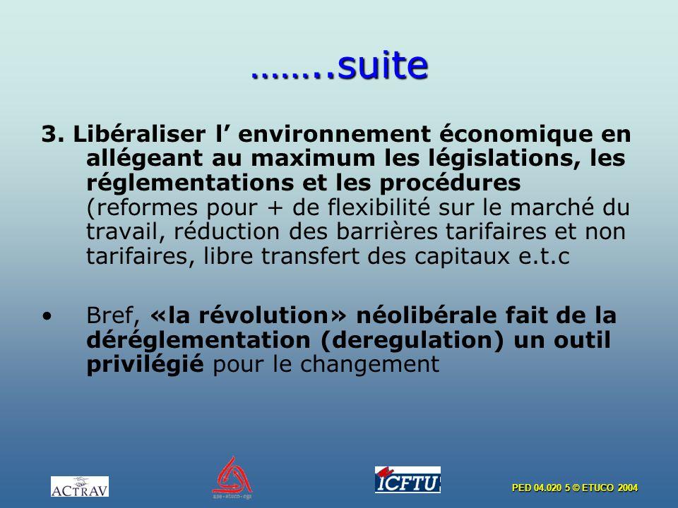 PED 04.020 5 © ETUCO 2004 ……..suite 3. Libéraliser l environnement économique en allégeant au maximum les législations, les réglementations et les pro