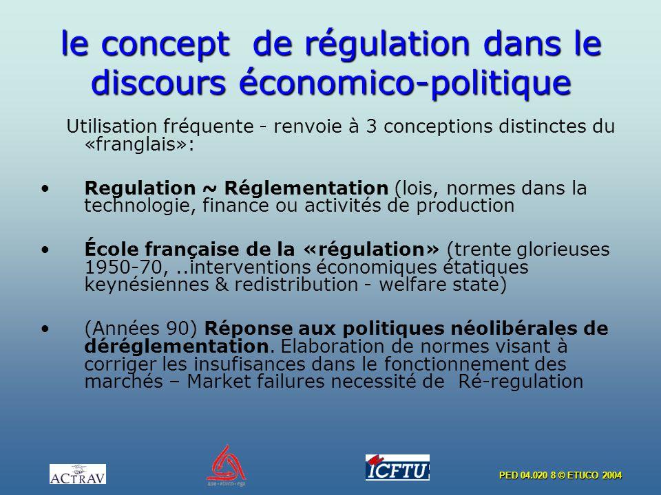PED 04.020 8 © ETUCO 2004 le concept de régulation dans le discours économico-politique Utilisation fréquente - renvoie à 3 conceptions distinctes du