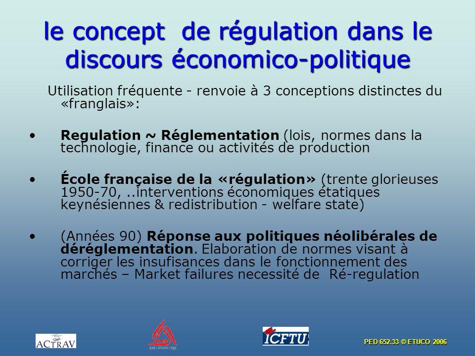 PED 652.33 © ETUCO 2006 le concept de régulation dans le discours économico-politique Utilisation fréquente - renvoie à 3 conceptions distinctes du «franglais»: Regulation ~ Réglementation (lois, normes dans la technologie, finance ou activités de production École française de la «régulation» (trente glorieuses 1950-70,..interventions économiques étatiques keynésiennes & redistribution - welfare state) (Années 90) Réponse aux politiques néolibérales de déréglementation.