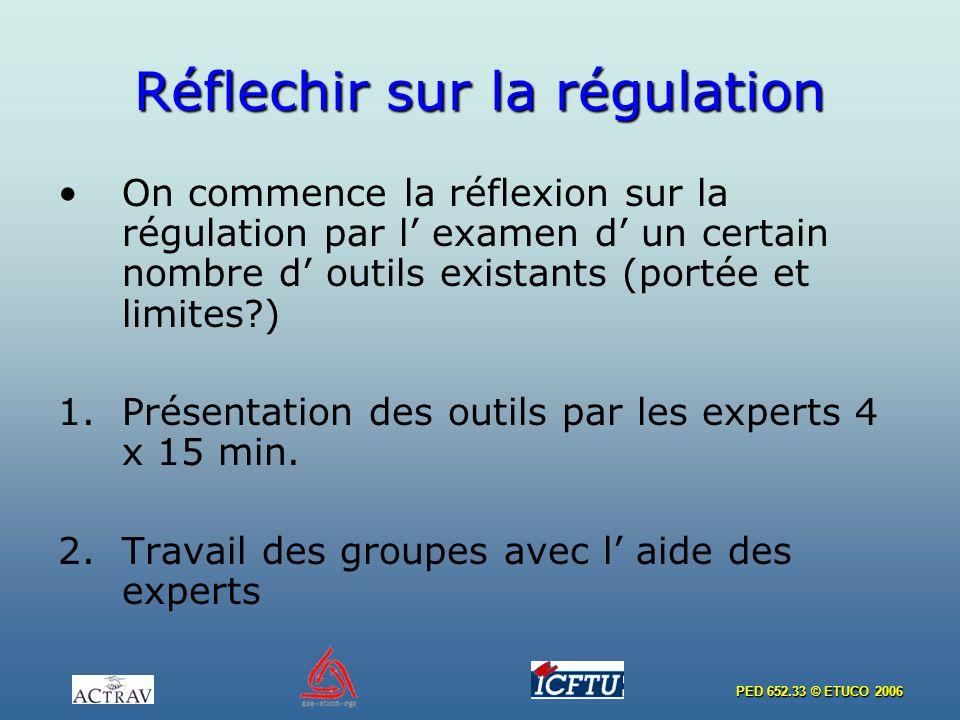 PED 652.33 © ETUCO 2006 Réflechir sur la régulation On commence la réflexion sur la régulation par l examen d un certain nombre d outils existants (portée et limites ) 1.Présentation des outils par les experts 4 x 15 min.