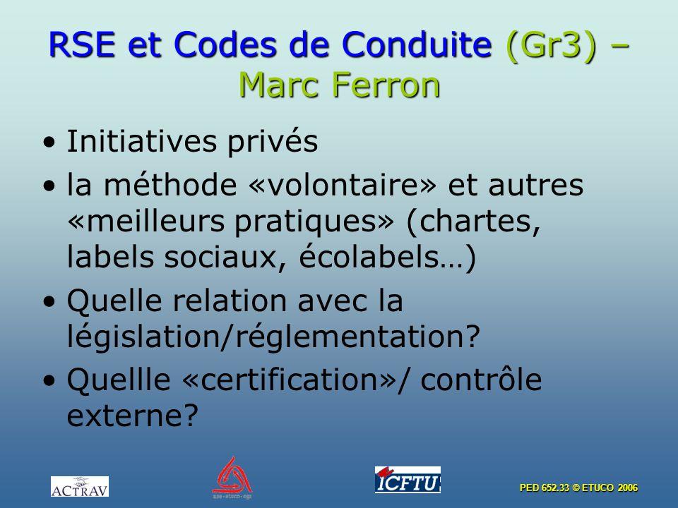 PED 652.33 © ETUCO 2006 RSE et Codes de Conduite (Gr3) – Marc Ferron Initiatives privés la méthode «volontaire» et autres «meilleurs pratiques» (chartes, labels sociaux, écolabels…) Quelle relation avec la législation/réglementation.