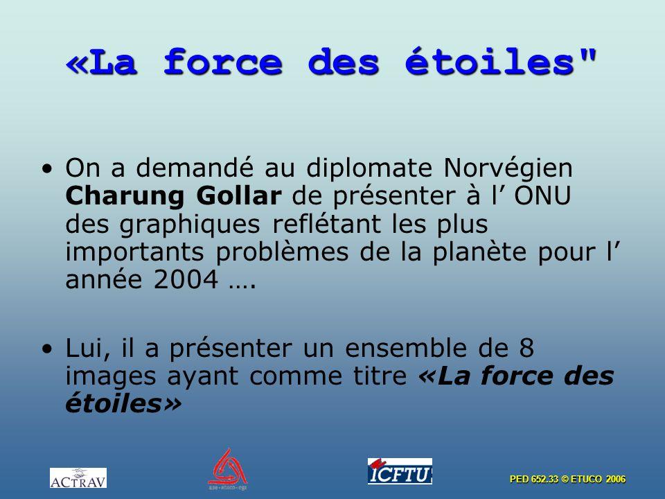 PED 652.33 © ETUCO 2006 «La force des étoiles On a demandé au diplomate Norvégien Charung Gollar de présenter à l ONU des graphiques reflétant les plus importants problèmes de la planète pour l année 2004 ….