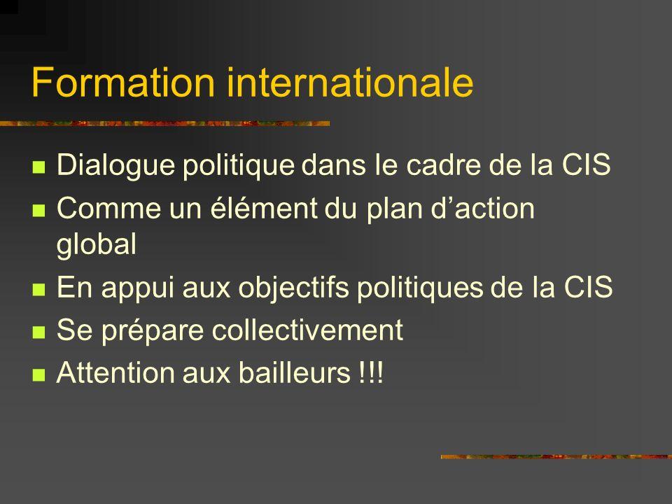 Formation internationale Dialogue politique dans le cadre de la CIS Comme un élément du plan daction global En appui aux objectifs politiques de la CI