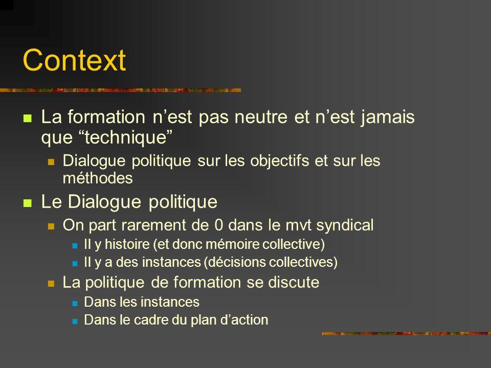 Context La formation nest pas neutre et nest jamais que technique Dialogue politique sur les objectifs et sur les méthodes Le Dialogue politique On pa