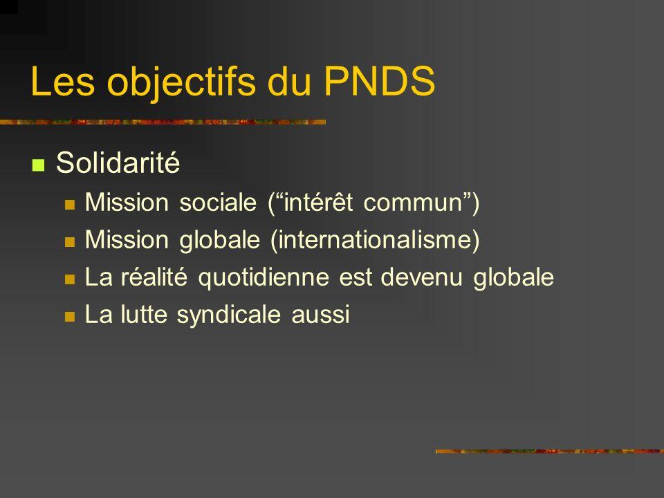 Les objectifs du PNDS Solidarité Mission sociale (intérêt commun) Mission globale (internationalisme) La réalité quotidienne est devenu globale La lut