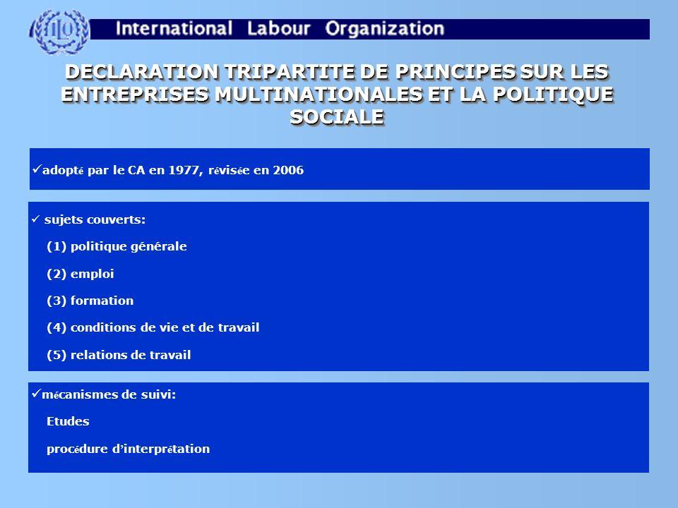 DECLARATION TRIPARTITE DE PRINCIPES SUR LES ENTREPRISES MULTINATIONALES ET LA POLITIQUE SOCIALE adopt é par le CA en 1977, r é vis é e en 2006 sujets