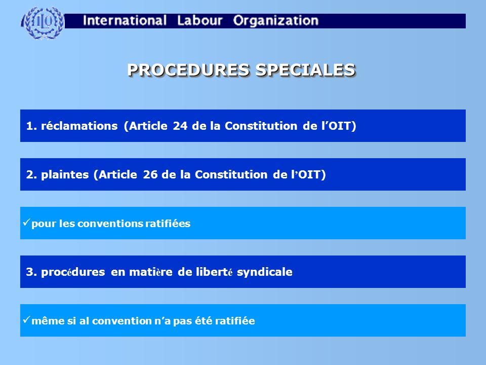 PROCEDURES SPECIALES 1. réclamations (Article 24 de la Constitution de lOIT) 2. plaintes (Article 26 de la Constitution de l OIT) 3. proc é dures en m