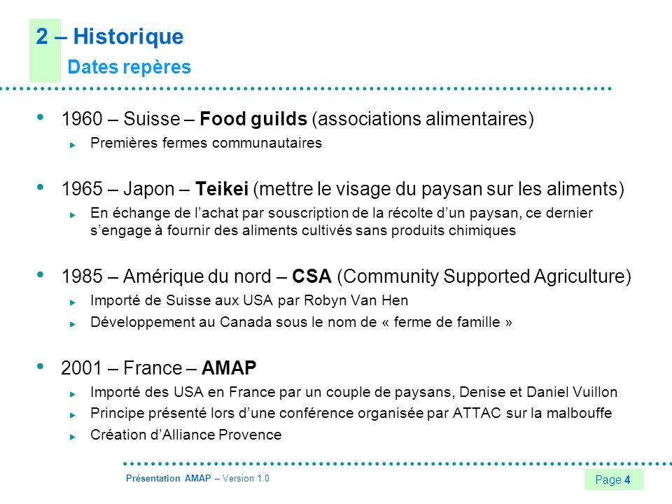Page 5 Présentation AMAP – Version 1.0 2 – Historique Chiffres clés en France 2001 – 4 AMAP en Provence 2002 – 20 AMAP (principalement en région PACA) 2004 – Environ 150 AMAP (majoritairement dans le sud) Première rencontre internationale (teikei, CSA, ASC, AMAP…) à Aubagne Première AMAP en Loire-Atlantique 2007 – Près de 500 AMAP 2009 – Plus de 1000 AMAP Environ 50 en Loire-Atlantique, dont 15 en cours de création