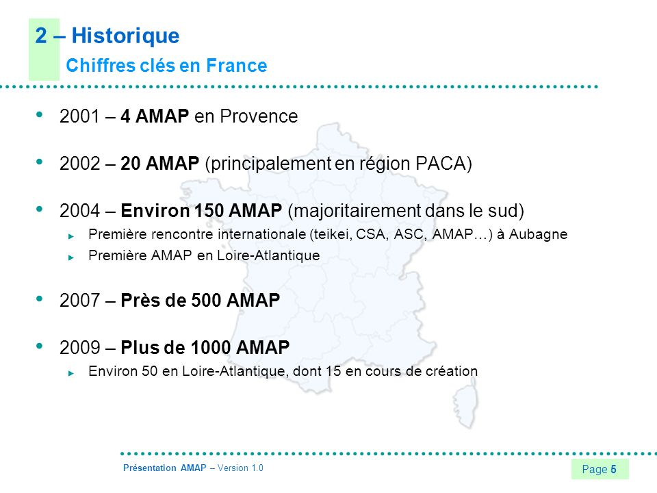 Page 6 Présentation AMAP – Version 1.0 2 – Historique Chiffres clés dans le monde Japon En 2004, environ 1000 teikei Aujourdhui, 1 foyer sur 4 participe à un teikei Amérique du nord En 2003, environ 1500 CSA au États-unis En 2004, environ 150 ASC (Agriculture Soutenue par la Communauté) au Québec Royaume-Uni En 2004, environ 200 CSA